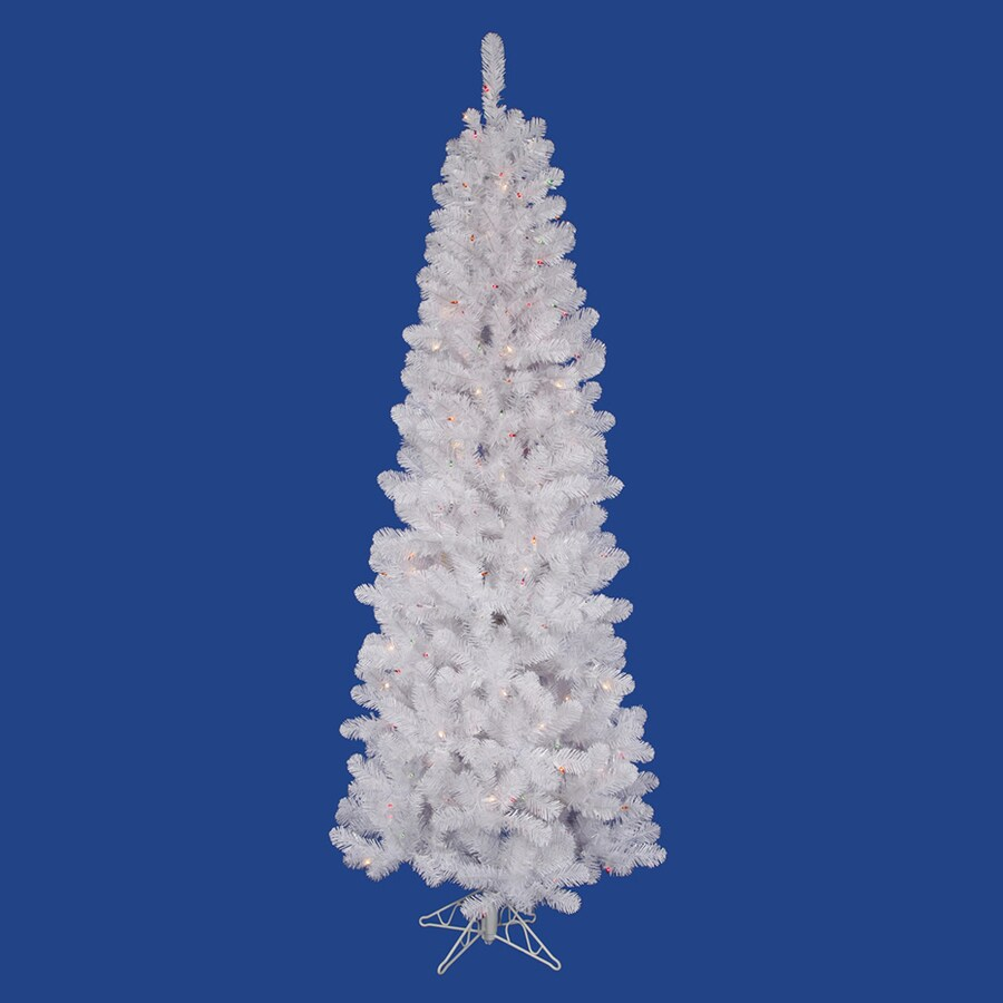 Vickerman 5.5-ft Pre-Lit Salem Pine Slim Artificial Christmas Tree with with Multicolor Incandescent Lights