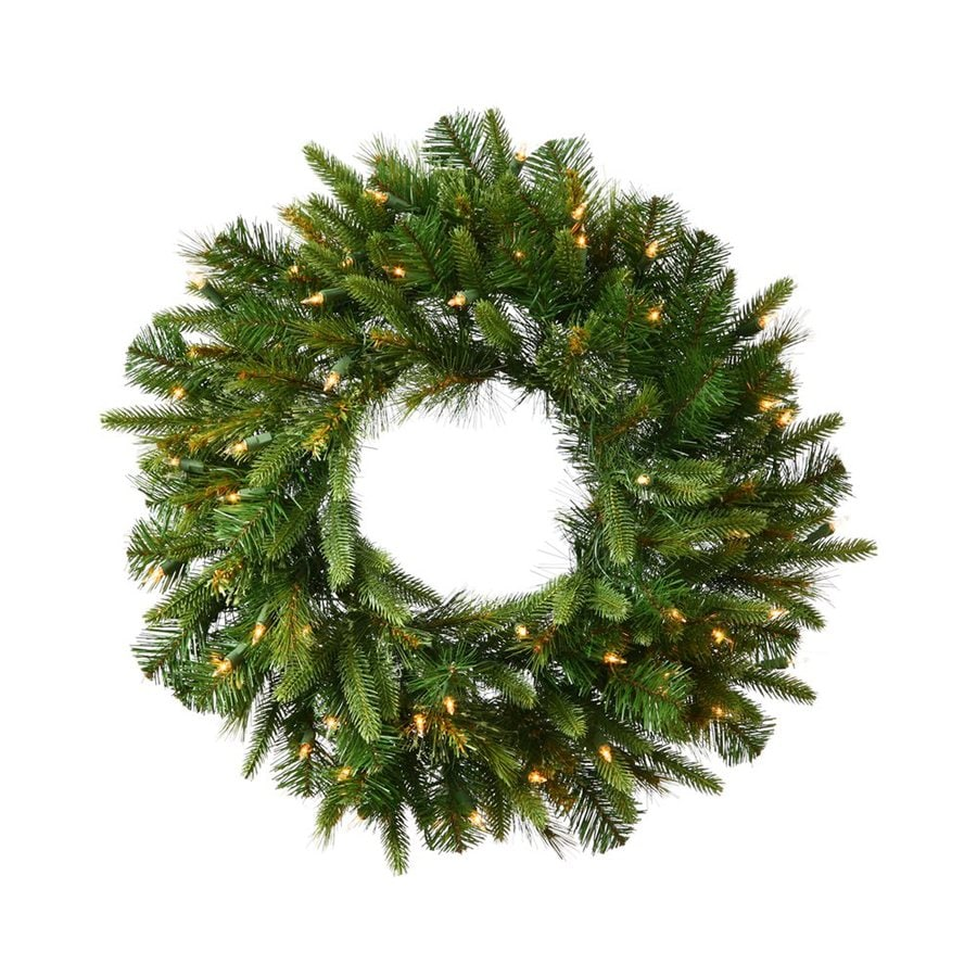 Vickerman 30-in Pre-lit Indoor Electrical Outlet Green Pine Artificial Christmas Wreath with White Warm White LED Lights