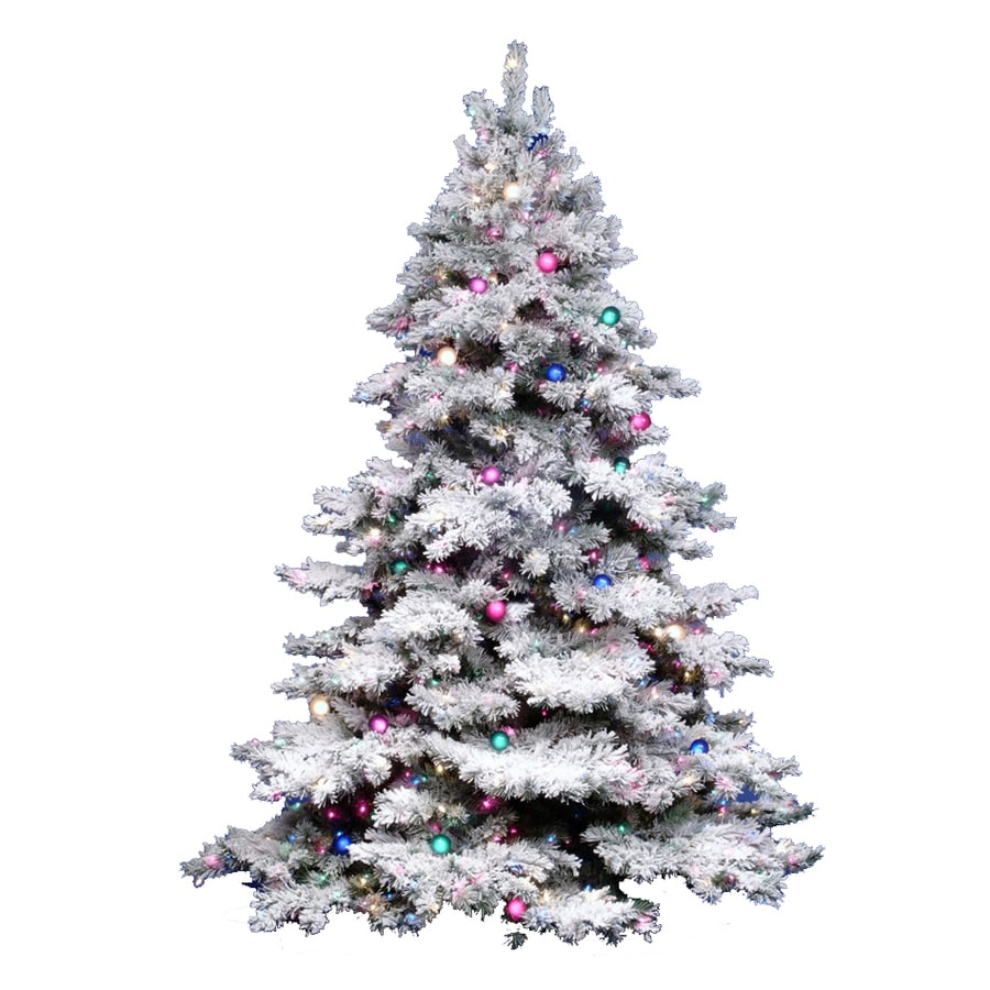 Vickerman 3-ft 116-Tip Pre-Lit Alaskan Pine Flocked Artificial Christmas Tree with 100 Clear White Incandescent Lights