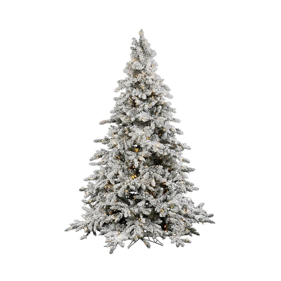 Vickerman 7.5-ft Pre-Lit Fir Flocked White Artificial Christmas Tree with White LED Lights