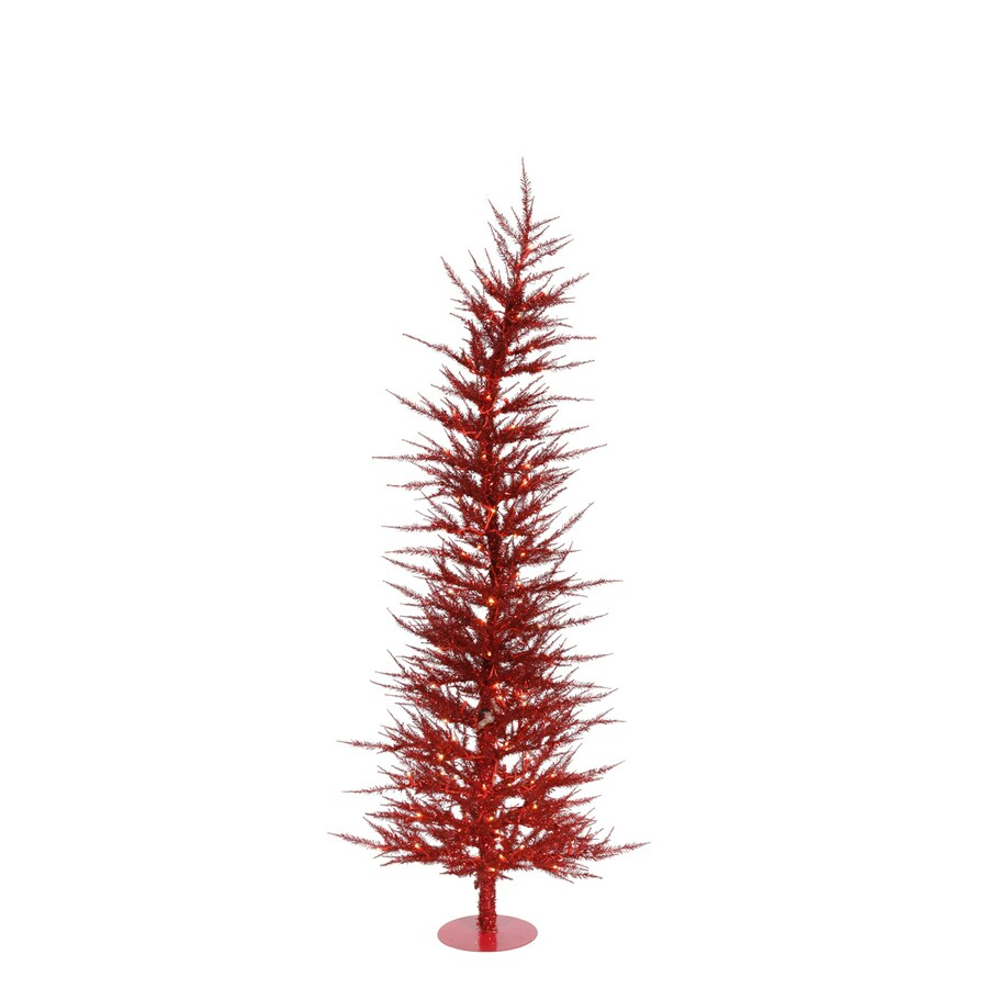 Vickerman Colorful Laser 3-ft Pre-Lit Whimsical Slim Artificial Christmas Tree with Red Incandescent Lights