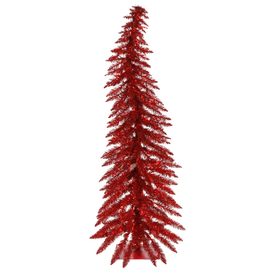 Vickerman 4-ft Pre-Lit Whimsical Slim Artificial Christmas Tree with Red Incandescent Lights