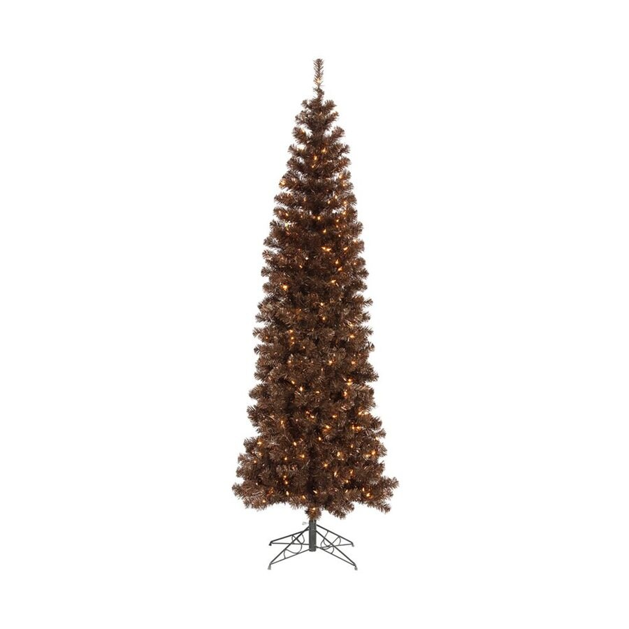 Vickerman Colorful 6.5-ft 587-Tip Pre-Lit Pencil Pine Slim Artificial Christmas Tree with 300 Clear White Incandescent Lights