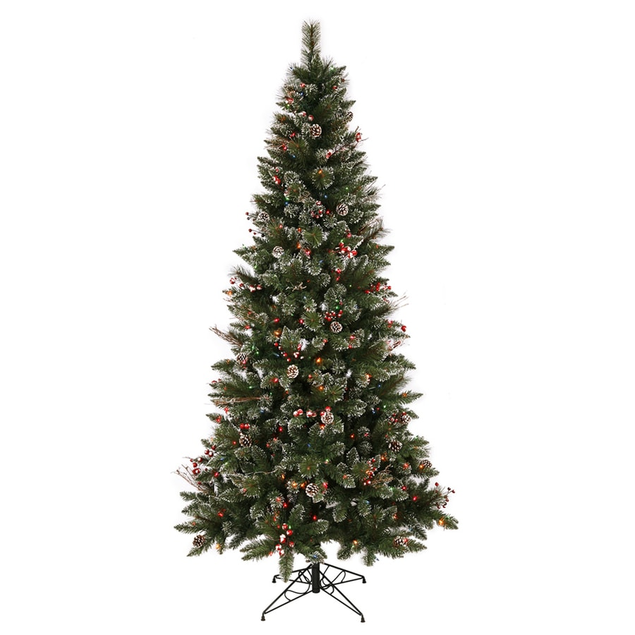 Vickerman 7-ft Indoor Pine Pre-Lit Snow Tip Pine and Berry Artificial Christmas Tree Multicolor Lights
