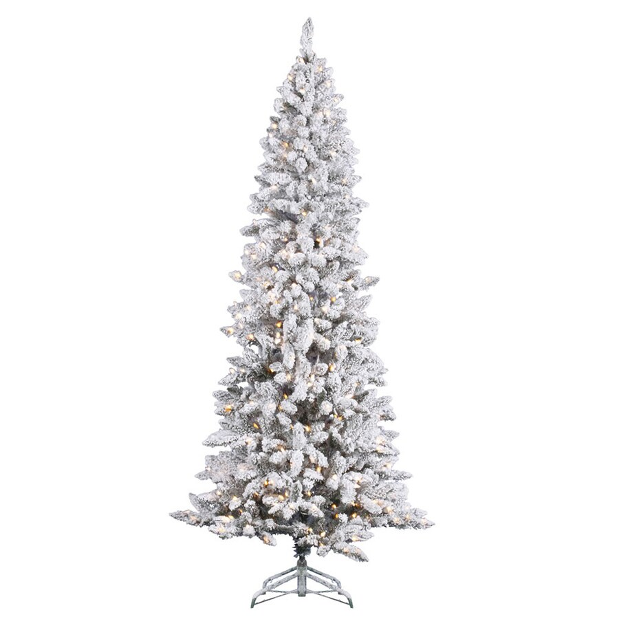 Shop Vickerman 7-ft Indoor Pine Pre-Lit Flocked Pencil Pine ...