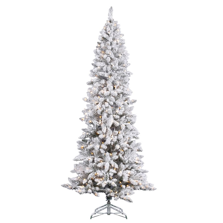 Shop Vickerman 7 Ft Indoor Pine Pre Lit Flocked Pencil Pine  - Vickerman Pre Lit Christmas Trees