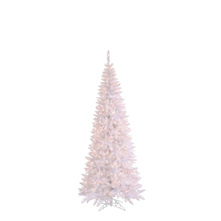 4 Ft White Christmas Trees Artificial: Vickerman 4-ft 6-in Pre-Lit Slim Artificial Christmas Tree