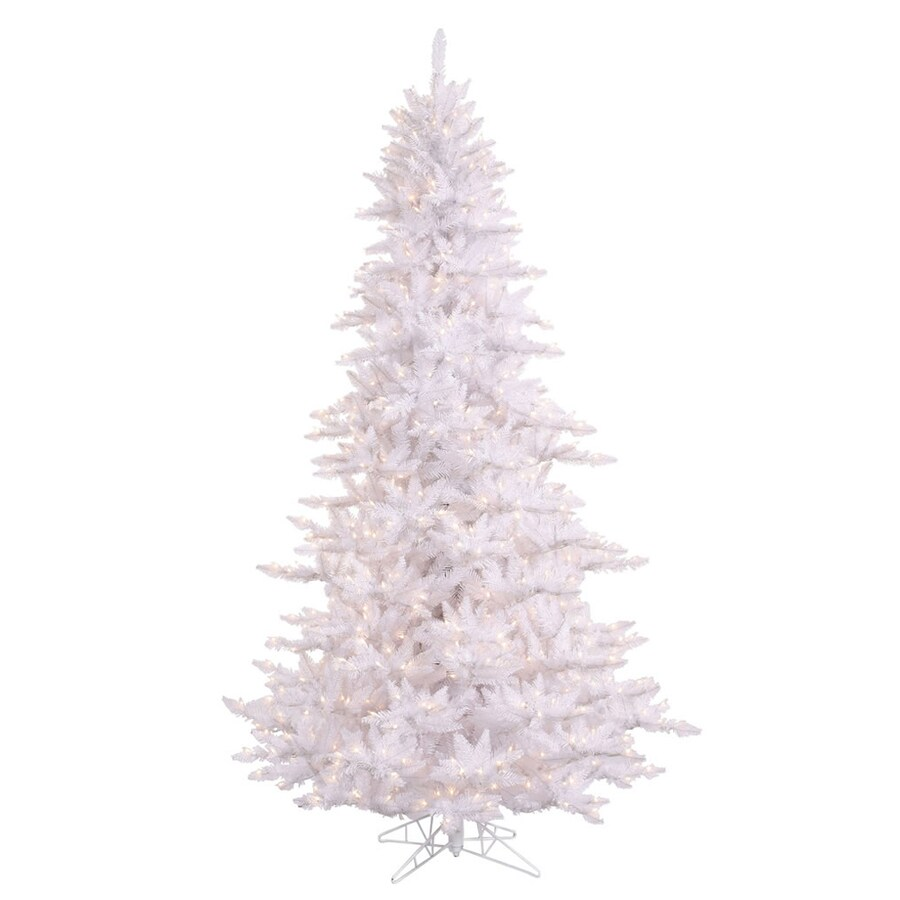 Vickerman 7.5-ft Indoor Fir Pre-Lit White Fir Artificial Christmas Tree with Clear Lights