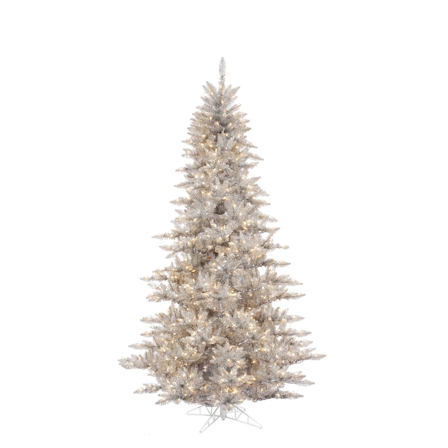 Vickerman 6.5-ft Indoor Fir Pre-Lit Silver Fir Artificial Christmas Tree with Clear Lights