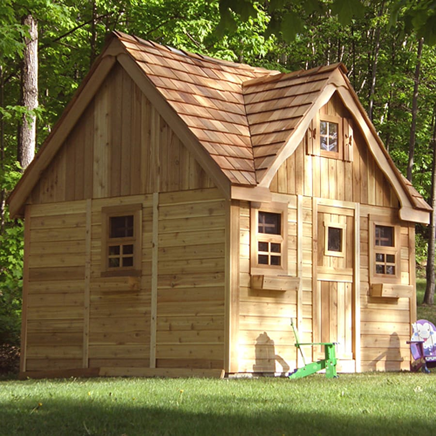 Shop outdoor living today laurens cottage wood playhouse for Lowes cabins kits