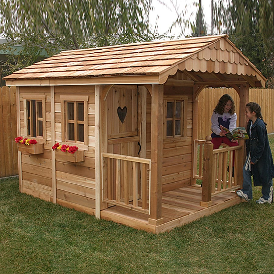 Shop outdoor living today sunflower wood playhouse kit at How to build outdoor playhouse