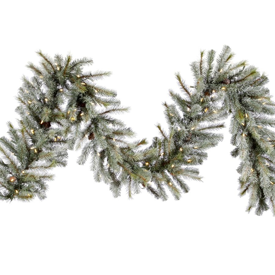 Vickerman 16-in x 9-ft Pre-Lit Artificial Christmas Garland with White LED Lights