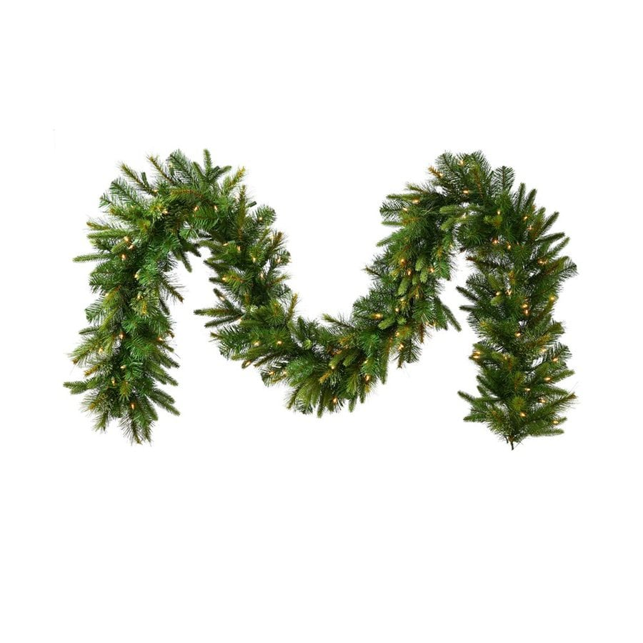 Vickerman 14-in x 9-ft Pre-Lit Cashmere Pine Artificial Christmas Garland with White LED Lights