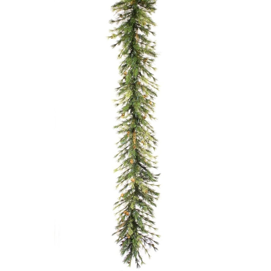 Vickerman Pre-Lit 9-ft L Mixed Country Pine Garland with White Incandescent Lights