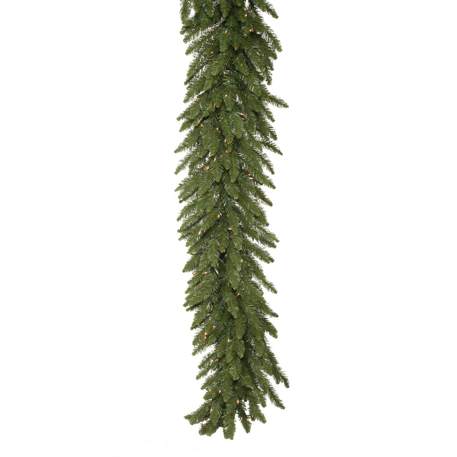 Vickerman 9-ft Pre-Lit Camden Fir Artificial Christmas Garland With White Incandescent Electrical Outlet Lights
