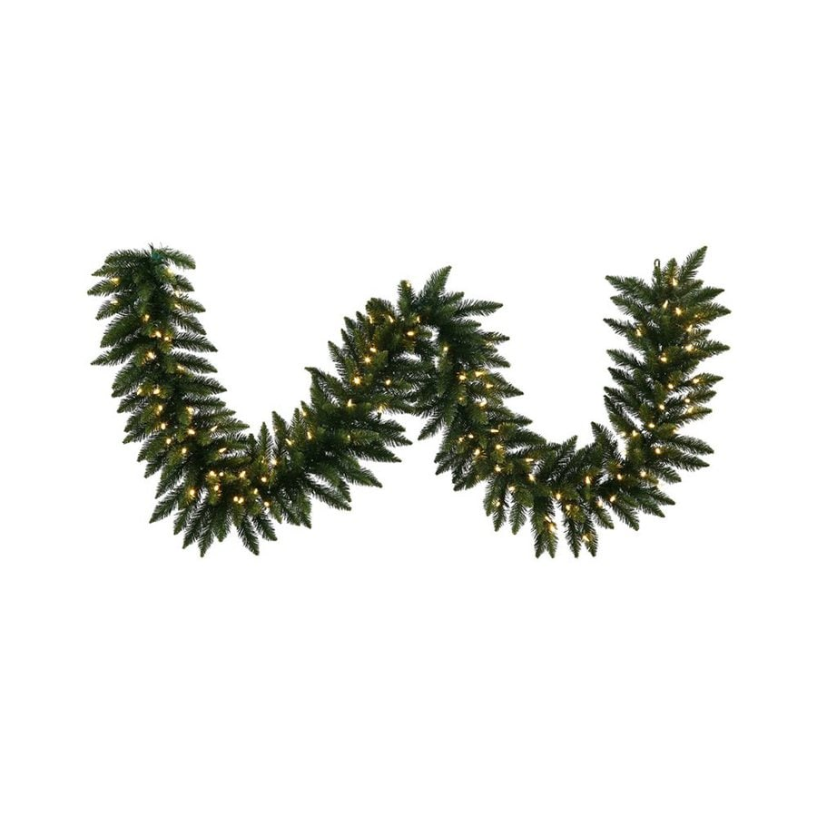 Vickerman Pre-Lit 9-ft L Camden Fir Garland with White LED Lights