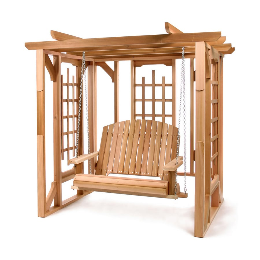 All Things Cedar 72-in W x 82-in L x 74-in H Natural Cedar Freestanding Pergola with Canopy