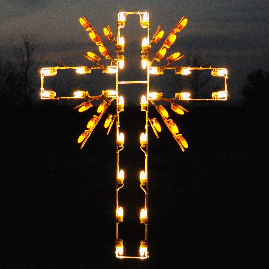 Holiday Lighting Specialists 3.92-ft Cross Outdoor Christmas Decoration with LED Multicolor Lights