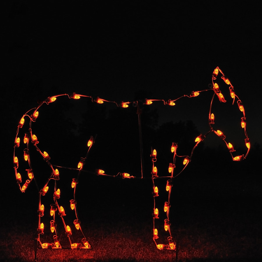 Holiday Lighting Specialists 4.17-ft Donkey Outdoor Christmas Decoration with LED White Lights