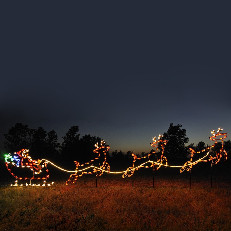 Holiday Lighting Specialists 4.75-ft Santa, Sleigh and Reindeer Outdoor Christmas Decoration with LED Multicolor Lights