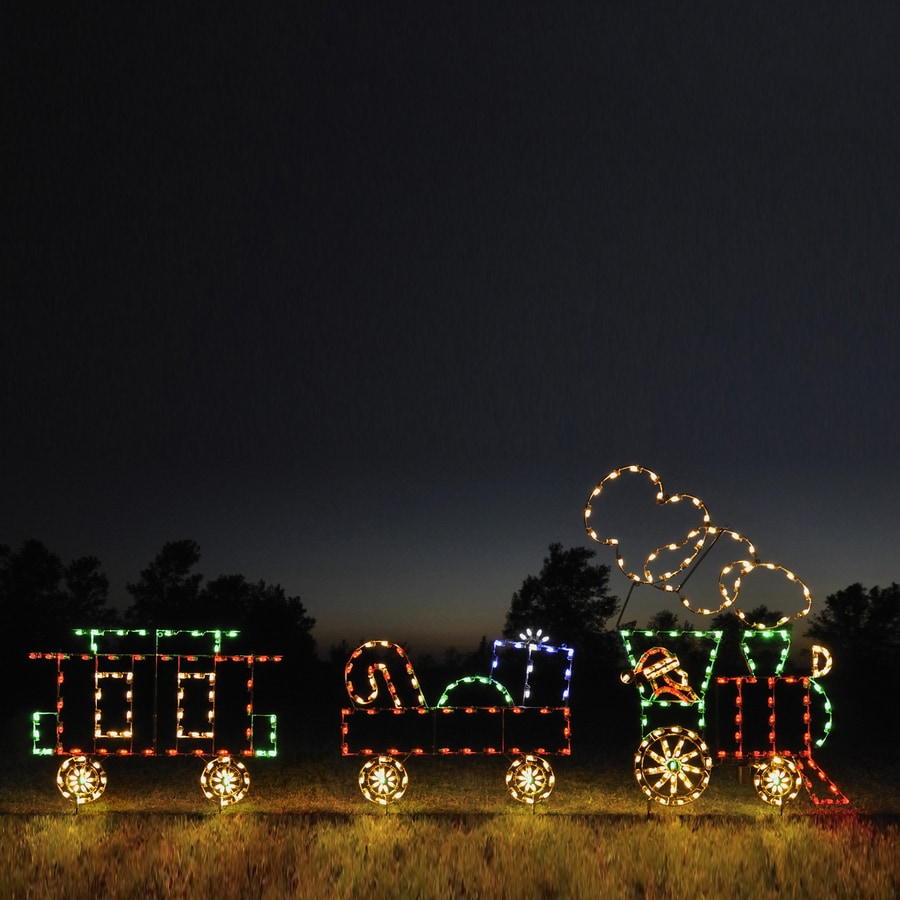 holiday lighting specialists 742 ft animated train outdoor christmas decoration with led multicolor multi