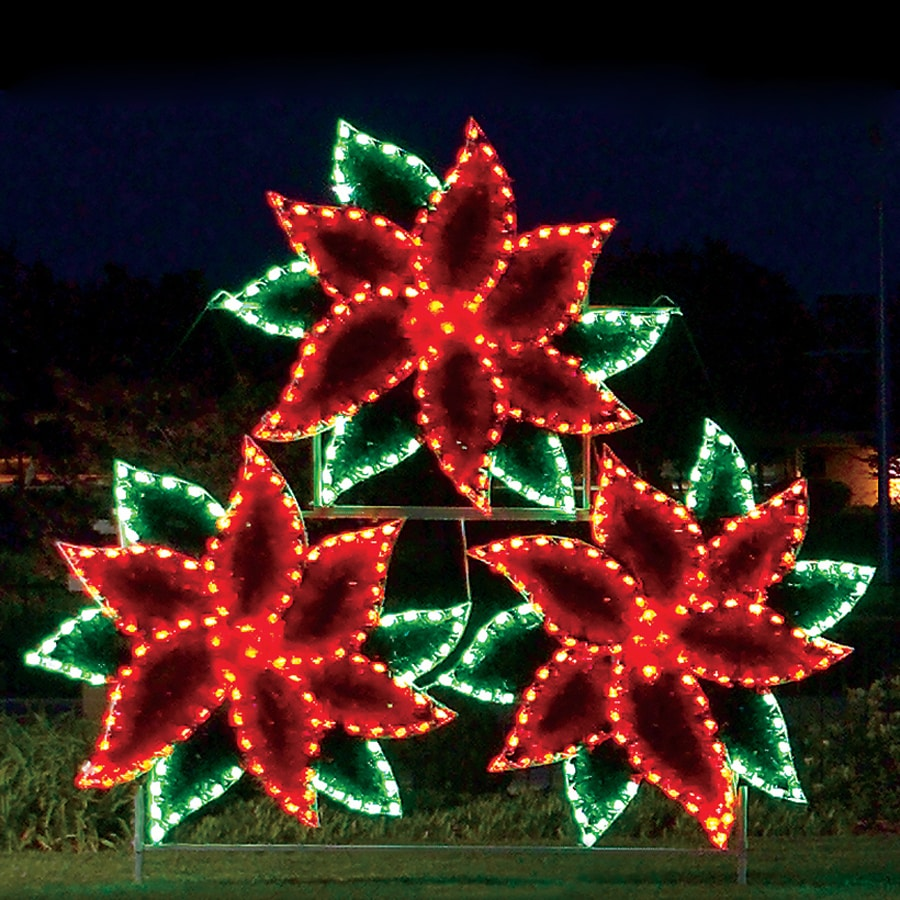 holiday lighting specialists 11 ft poinsettia cluster outdoor christmas decoration with led multicolor lights - Led Multicolor Christmas Lights