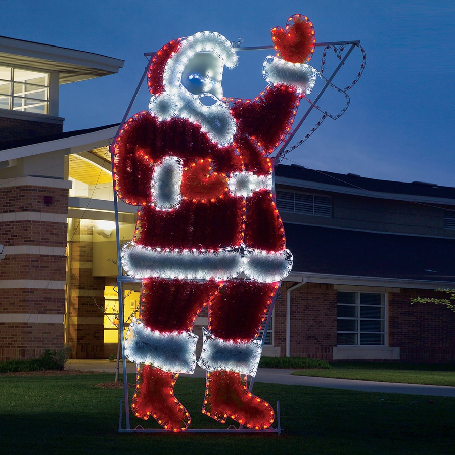 holiday lighting specialists 17 ft animated waving santa outdoor christmas decoration with led multicolor multi - Animated Christmas Yard Decorations