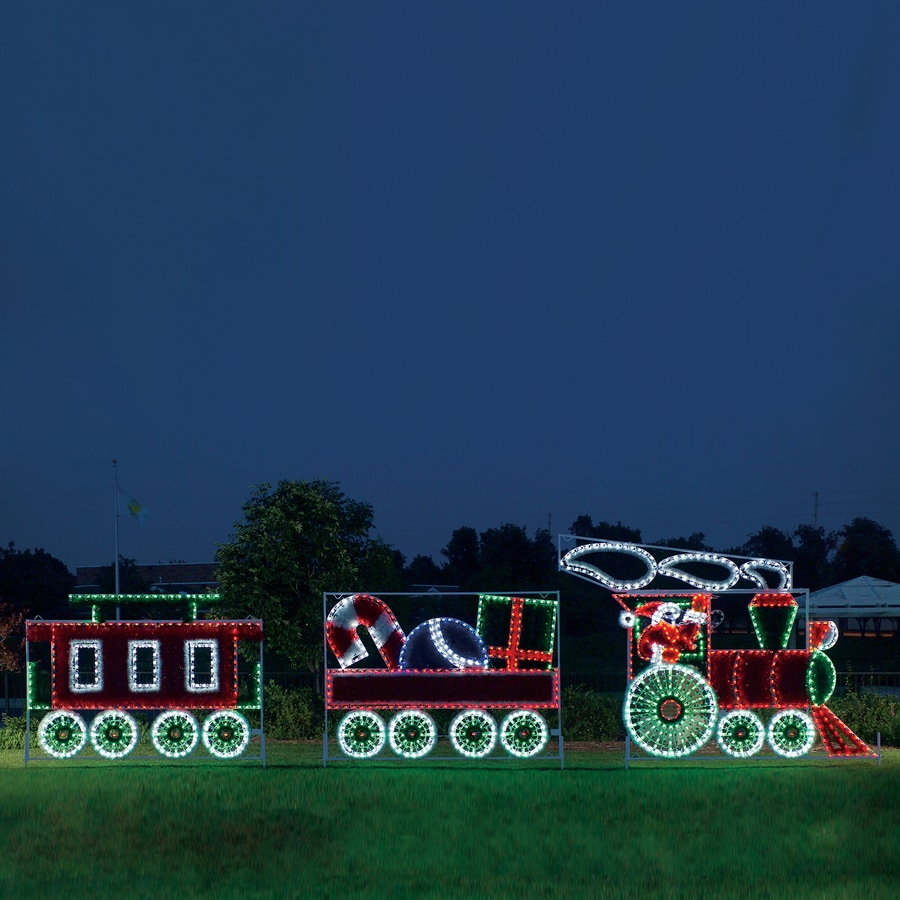 holiday lighting specialists 10 ft animated santas train outdoor christmas decoration with led multicolor multi - Christmas Train Yard Decoration