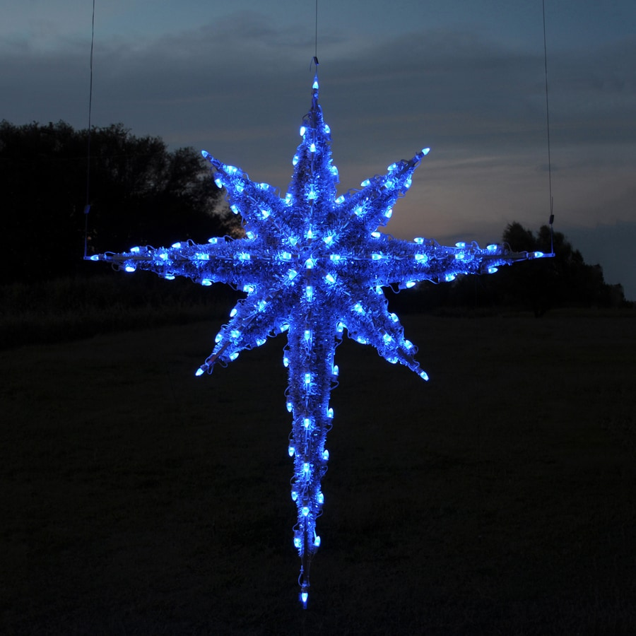 Holiday Lighting Specialists 6 83 Ft Moravian Star Outdoor Christmas Decoration With Led Blue Lights