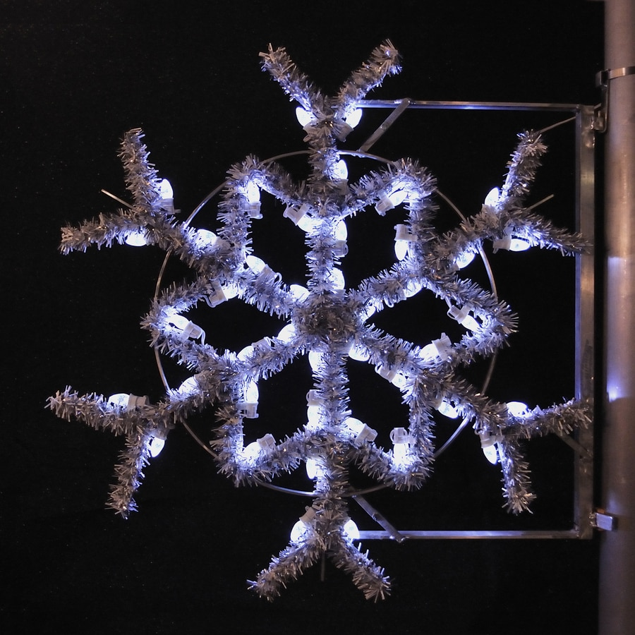 Shop holiday lighting specialists 3 ft garland snowflake pole decoration outdoor christmas for Exterior christmas garland with lights