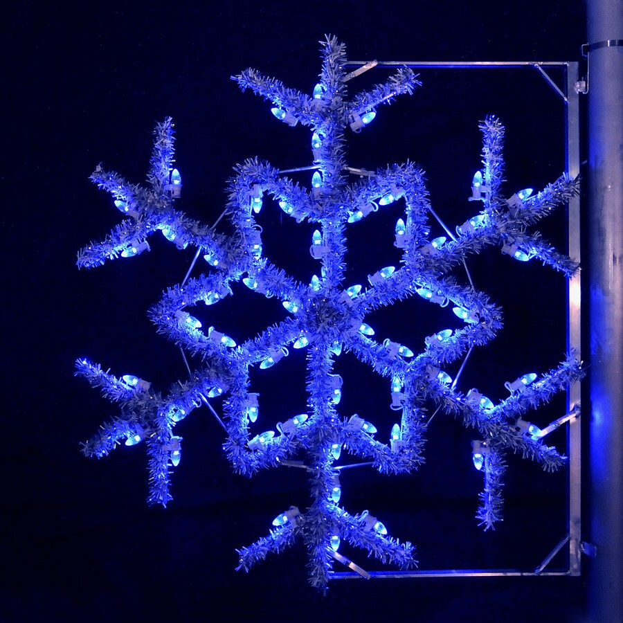 Holiday Lighting Specialists 4-ft Garland Snowflake Pole Decoration Outdoor Christmas Decoration with LED Blue Lights