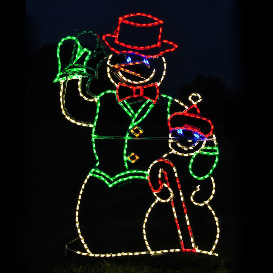 holiday lighting specialists 4 ft animated waving snowman outdoor christmas decoration with led multicolor multi