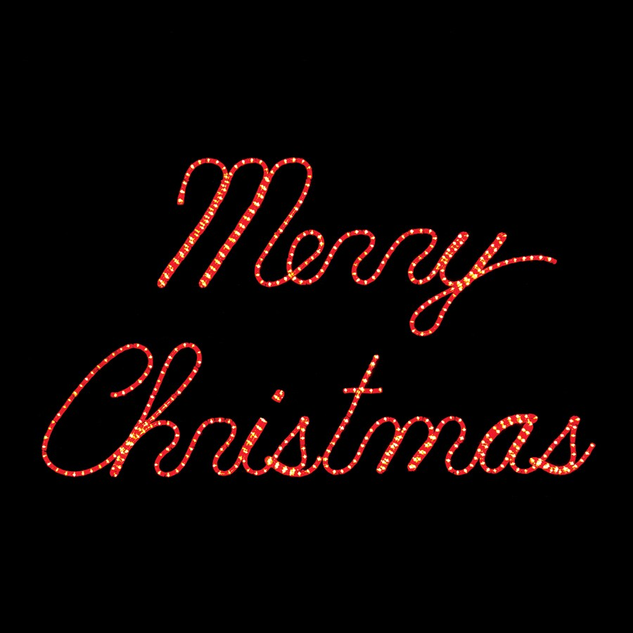 Holiday Lighting Specialists 3.75-ft Merry Christmas Outdoor Christmas Decoration with LED Red Lights