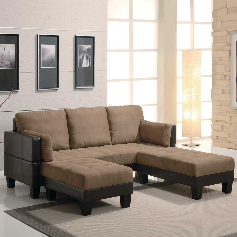 Shop Coaster Fine Furniture Tan Dark Brown Microfiber Sofa