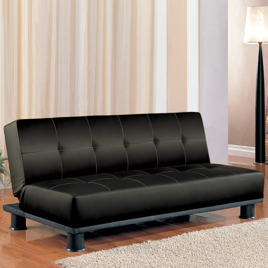 Coaster Fine Furniture Black Vinyl Futon