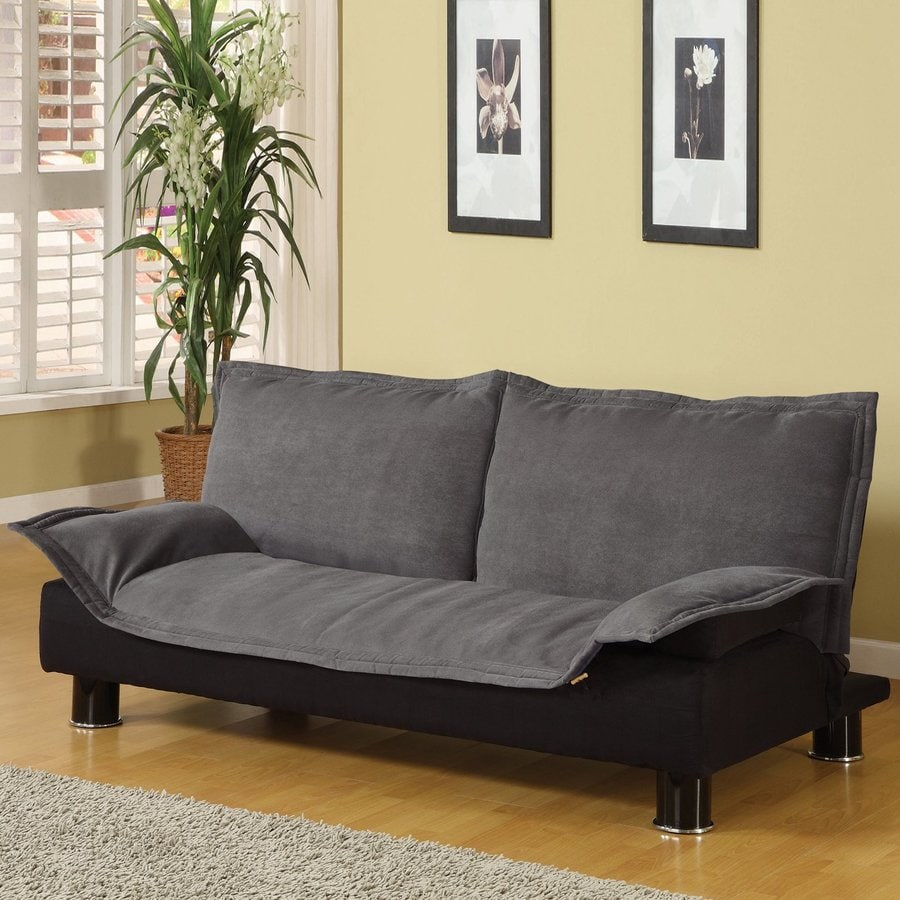 Shop coaster fine furniture grey black microfiber futon at for Sofa bed futon