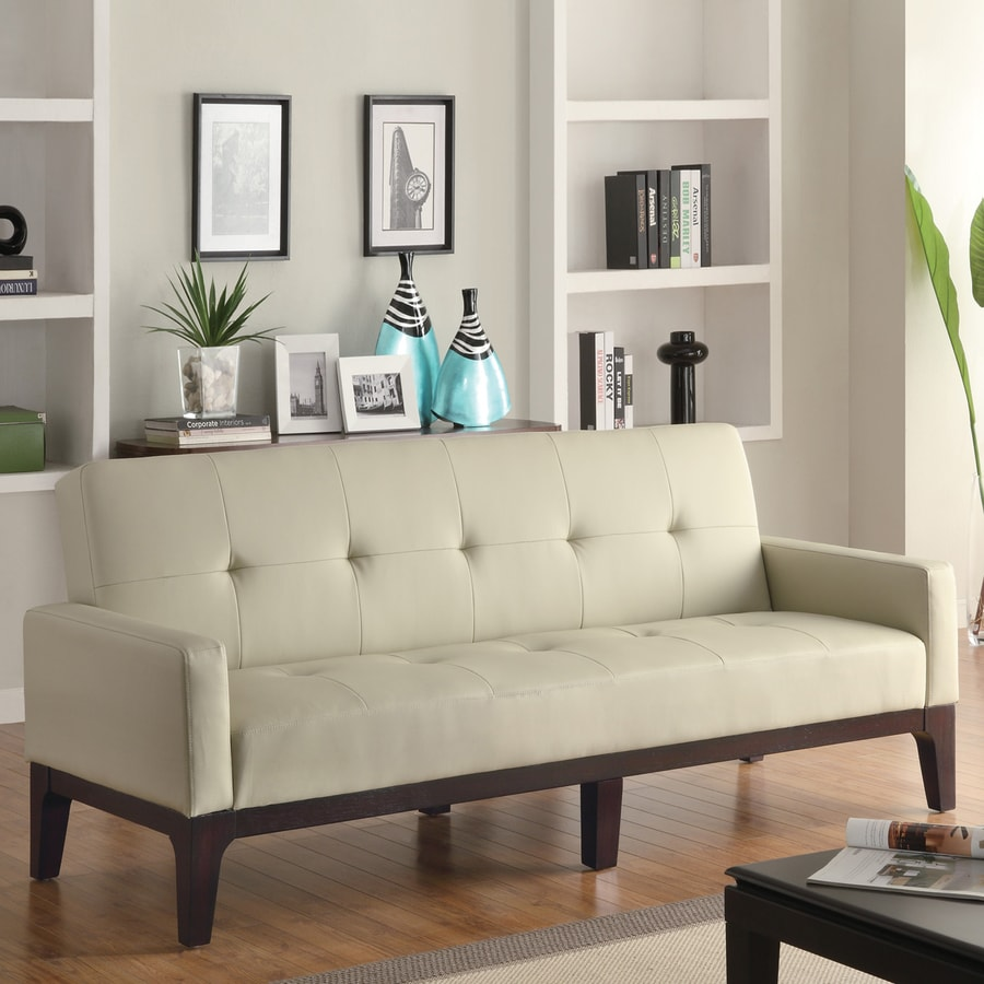 Coaster Fine Furniture Cream Faux Leather Futon