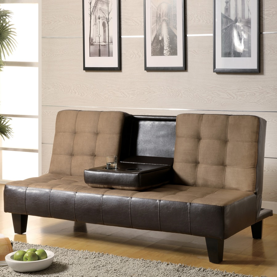 Coaster Fine Furniture Tan/Dark Brown Microfiber Futon