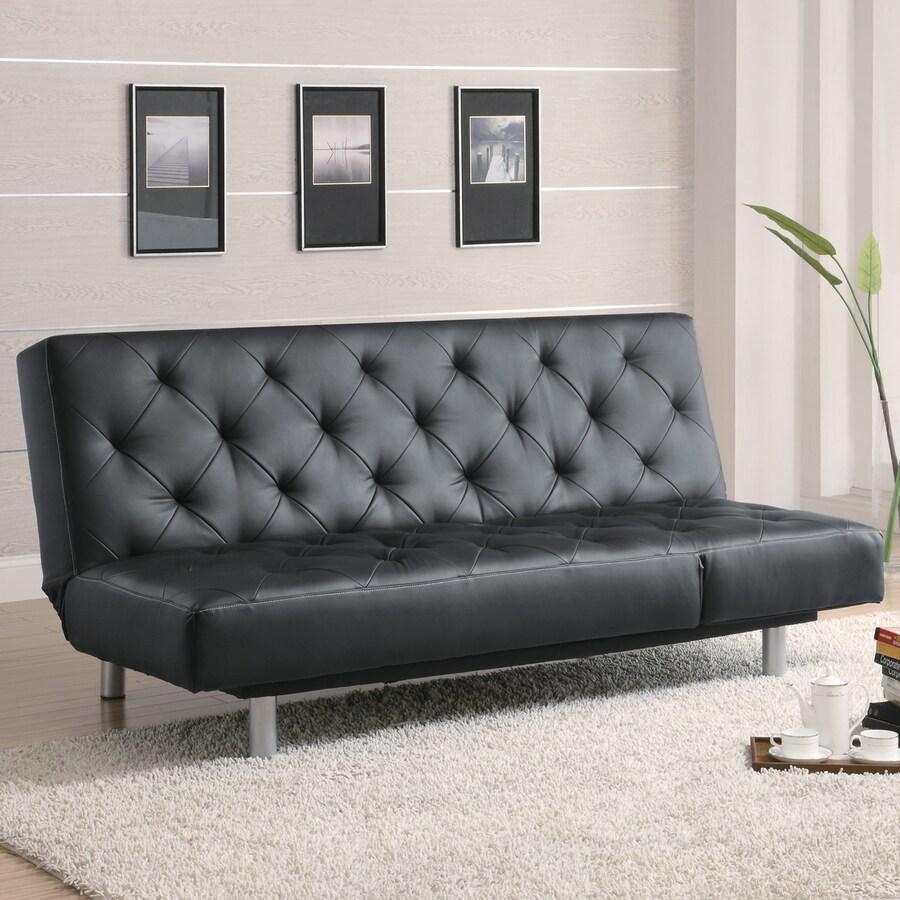 Coaster Fine Furniture Black Vinyl Futon
