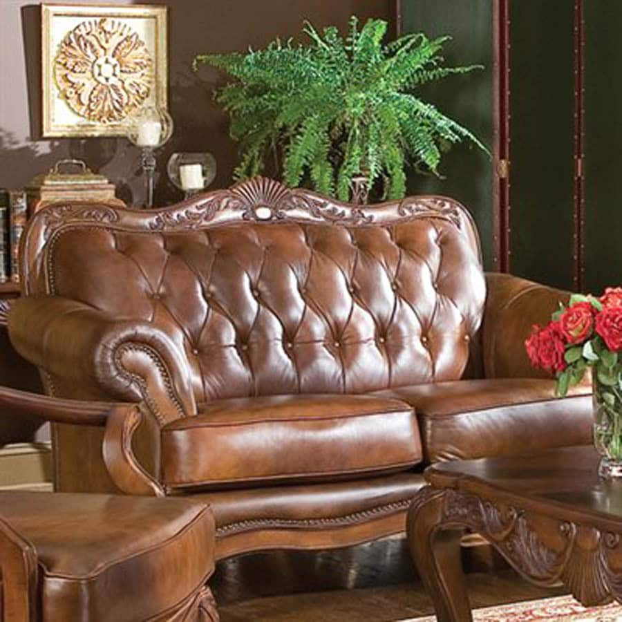 Coaster Fine Furniture Victoria Brown Leather Stationary Loveseat