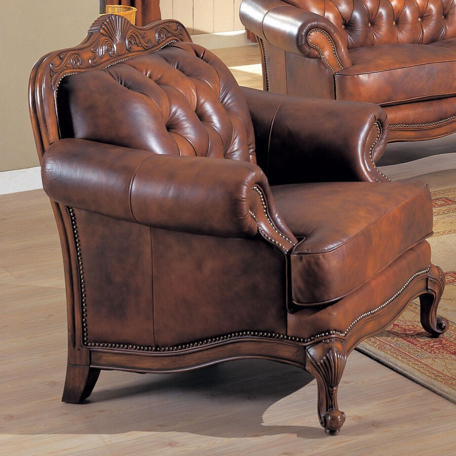 Shop Coaster Fine Furniture Victoria Brown Leather Club Chair At
