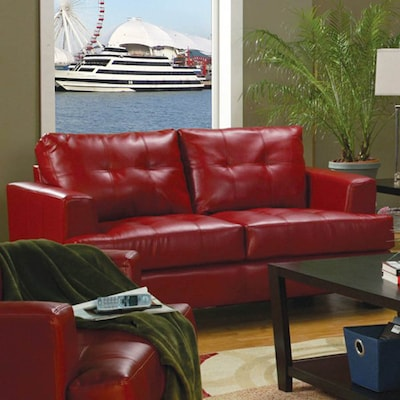 Prime Coaster Fine Furniture Samuel Red Faux Leather Loveseat At Evergreenethics Interior Chair Design Evergreenethicsorg