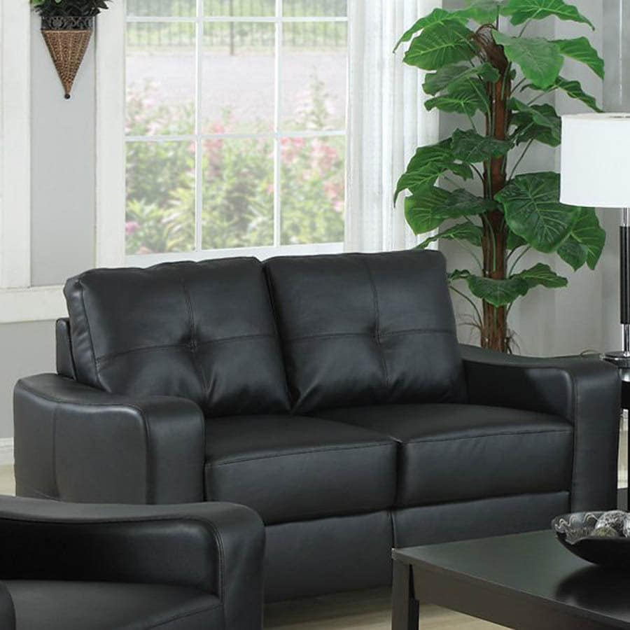 Coaster Fine Furniture Jasmine Black Bonded Leather Loveseat