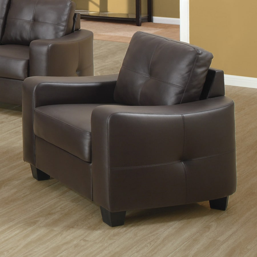 Shop coaster fine furniture jasmine brown faux leather for Accent chair with brown leather sofa