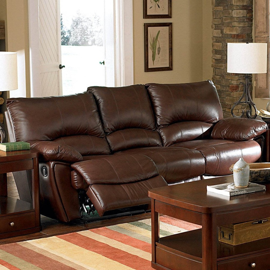 Coaster Fine Furniture Clifford Dark Brown Leather Sofa At Lowes Com