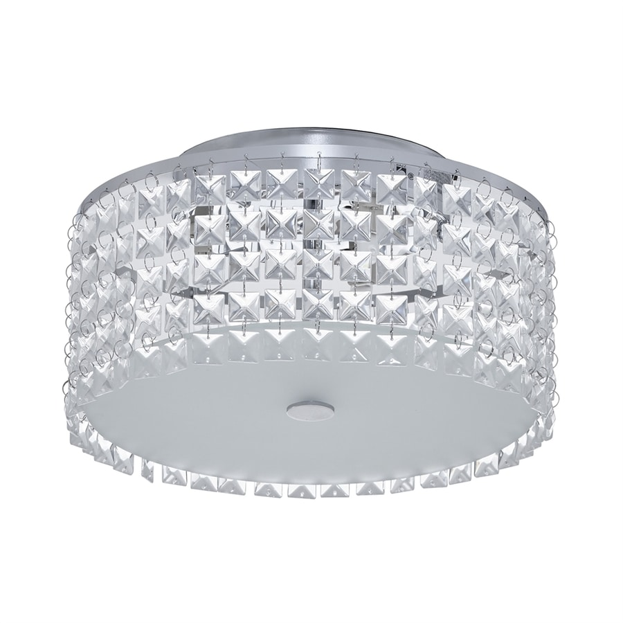 shop bazz glam 11-in w chrome flush mount light at lowes