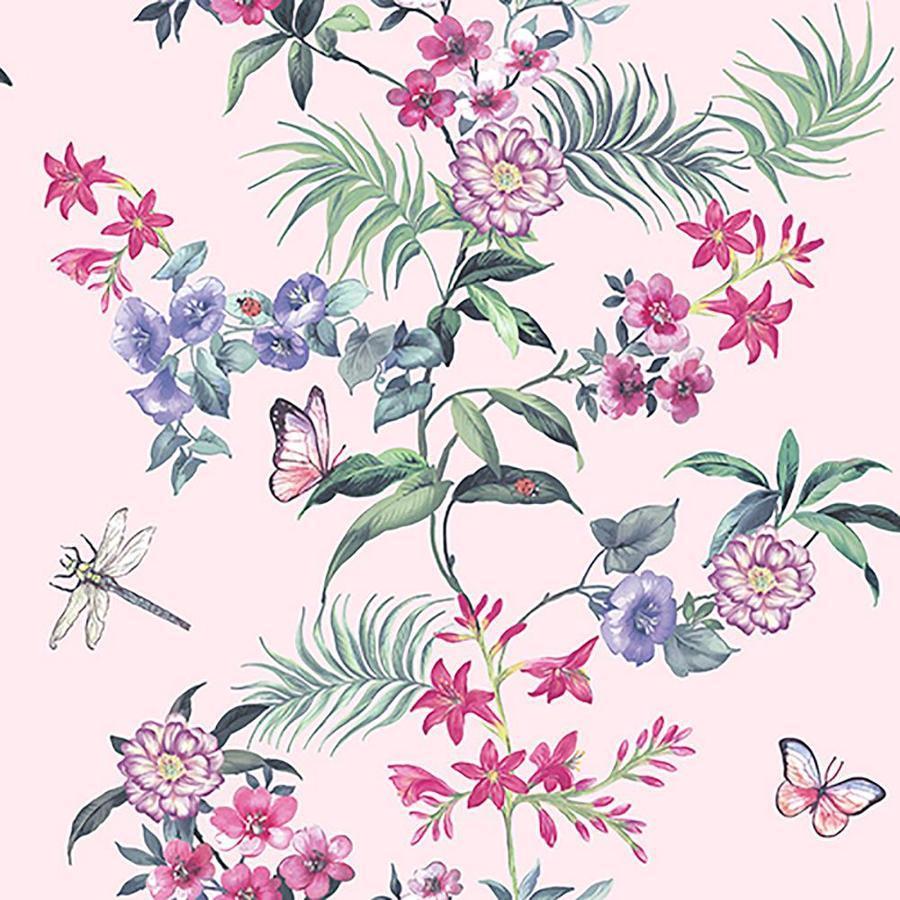 Crown CWV 564 Sq Ft Light Pink Paper Floral Wallpaper