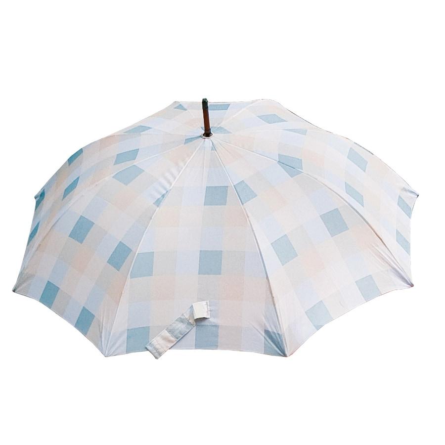 """Laura Ashley Garden 2'1"""" Mitford Check Duck Egg Round Patio Umbrella"""