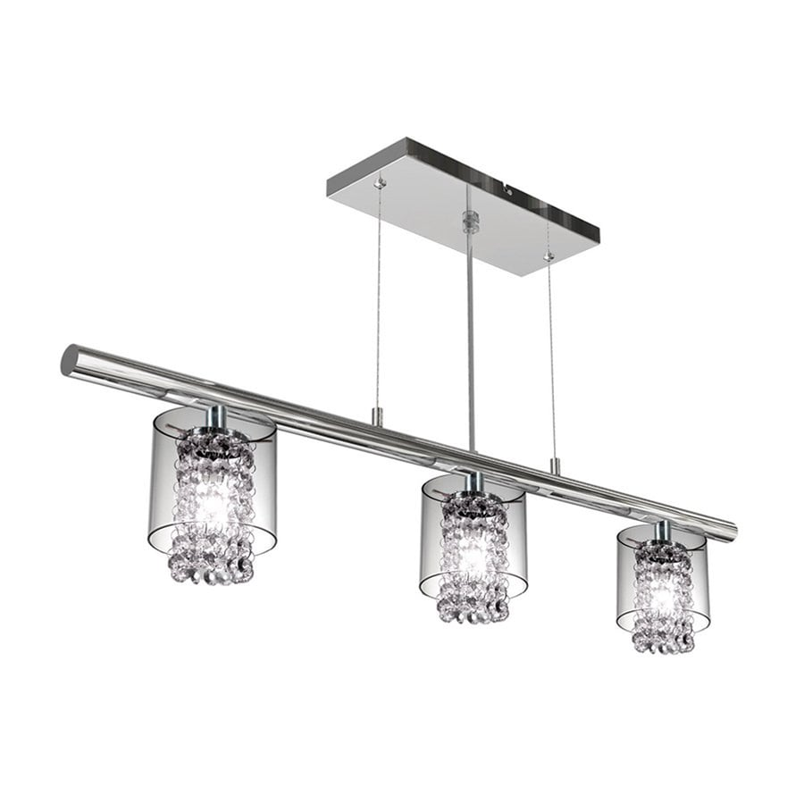 BAZZ Glam 36-in W 3-Light Chrome Kitchen Island Light with Clear Glass Shade