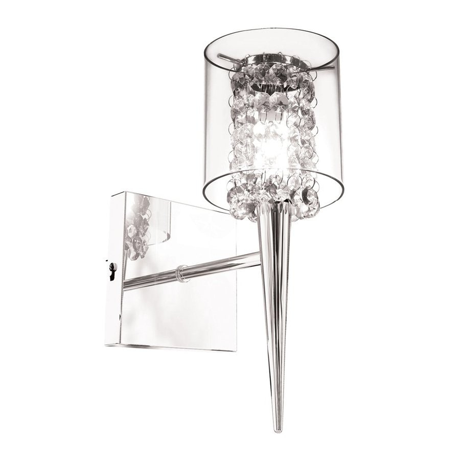 BAZZ Glam 4.5-in W 1-Light Chrome/Clear Arm Wall Sconce